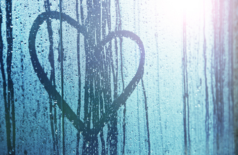 Image of heart with rain