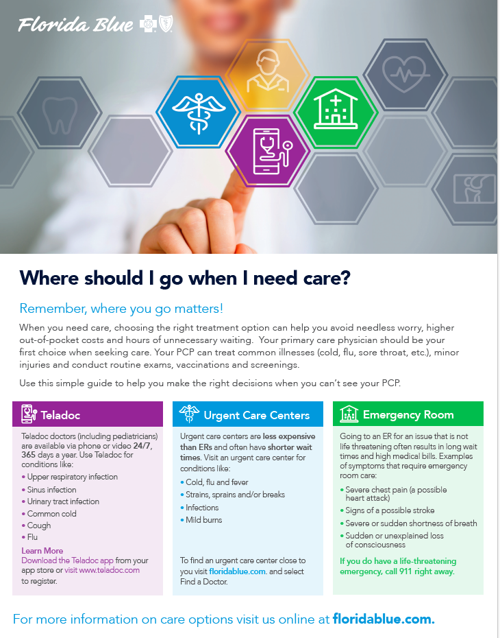 flyer that highlights option for non emergency care