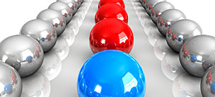 Blue marble in front of a row of red marbles flanked by gray marbles to symbolize group administration