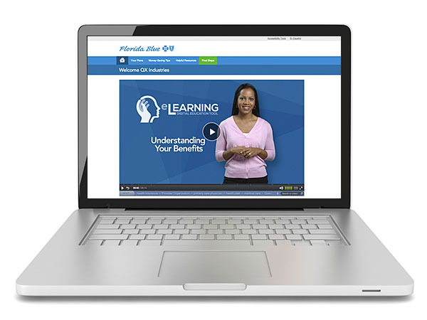 Laptop showing Florida Blue eLearning digital education tool for group healthcare insurance plans
